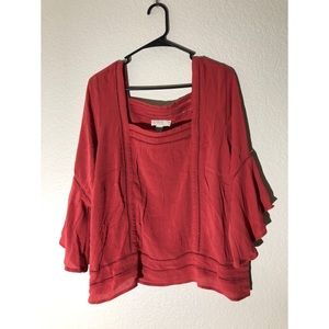 Forever 21 plus 1X boho blouse rust red